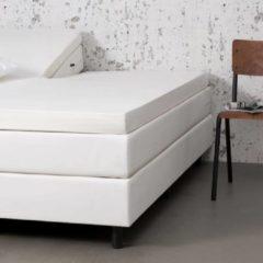 Witte Fresh & cold Comfort Split- Topper Hoeslaken - Crème - 200x200 cm - Jersey Stretch - Fresh & Co