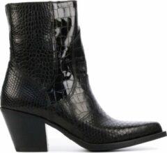 Donkerbruine Via Vai 5502042 leren cowboylaarzen met crocoprint zwart