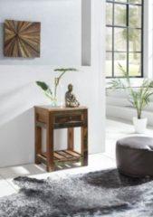 Wohnling Beistelltisch DELHI 45 x 37 x 60 cm Massiv-Holz Nachttisch mit Ablage & Schub Nachtkommode Boxspring Shabby Nachtschrank Mango Recycling Bo