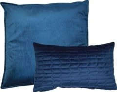 Kussoo Sierkussen Fluweel Uni Indigo Blauw 50x50 en 30x50 cm Set van 2 kussens