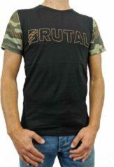 Groene Loud and Clear BRUTAL T Shirt Heren Zwart Oranje Camouflage - Camouflage Shirt - Ronde Hals - Korte Mouw - Met Print - Met Opdruk - Maat XL