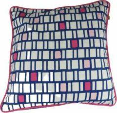 Merkloos / Sans marque Dutch Decor sierkussenhoes SEPPE - Blauw / Fuchsia - 45 x 45 cm - Polyester - Vierkant