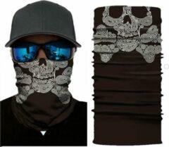 Zwarte New Age Devi Motor Gezichtsmasker Nekwarmer Skull & Bones - Motormasker - Skimasker - Motorsjaal - Halloween