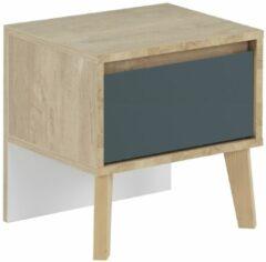 Gamillo Furniture Nachtkastje Larvik 41 cm hoog in eiken met blauw