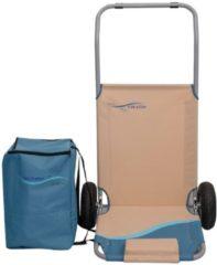 Alu Strandliege klappbar mit Gummi Reifen und Tasche 118 x 63 cm Gartenliege Sonnenliege Relaxliege Meerweh beige/blau