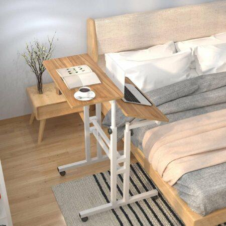 Afbeelding van HN® Zit-Sta Laptoptafel Eikenhout | Tablet- werk en Computertafel | In hoogte verstelbaar | Multifunctioneel | Laptop tafel op wieltjes | 70 cm tot 115 cm | Bijzettafel Bureau