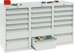 Stumpf Metall Stumpf® STS 410 Schubladenschrank mit 18 Schubladen, lichtgrau - 90 x 150 x 50 cm