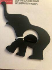 VITA Olifanten ophanghaakje zwart 6 cm hoog - 8 cm lang