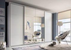 Schwebetürenschrank in Weiss mit Spiegel PolPower Synchro