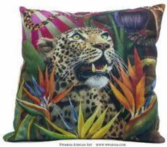 Beige African Jungle: Luipaard Kussenhoes - WhimsicalCollection - Katoen 45 x 45 cm met rits sluiting - Afrika - Jungle - Wilde dieren - Kleed jouw huis of tuin prachtig aan met deze kussenhoes. Gemaakt in Zuid Afrika - Kussen niet inbegrepen