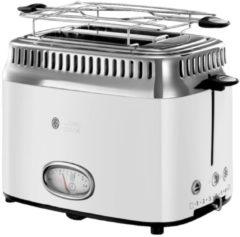 Kompakt Toaster mit Retro Contdown Anzeige Russell Hobbs Weiß/Edelstahl