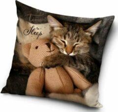 Carbotex Cat Time to Sleep - Sierkussen - Kussen 40 x 40 cm inclusief vulling