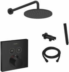 Hansgrohe + Saniclear Hansgrohe Shower Select inbouw douchekraan met Saniclear Nero 20cm douchekop en wandarm regendouche zwart