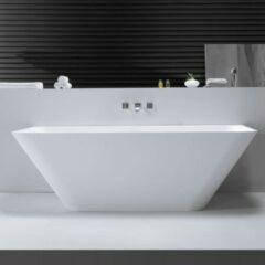 Douche Concurrent Ligbad Vrijstaand Lia Rechthoek 179x84.5x57.5cm Solid Surface Glans Wit met Overloop