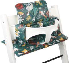 Ukje geplastificeerde kussenset voor kinderstoel Stokke Tripp Trapp apenprint groen