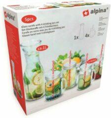 Rode Alpina Kitchen & Home Alpina drinkset - karaf, 4 glazen met deksel en rietje
