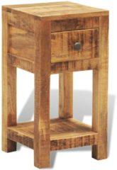 Bruine VidaXL Massief houten bijzettafeltje met één lade