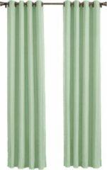 Groene Larson - Luxe Hotel Serie Blackout Gordijn - Visgraat motief - Ringen - Soft Mint - 300 x 250 cm - Verduisterend & kant en klaar