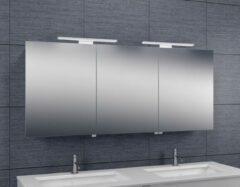 Douche Concurrent Spiegelkast Larissa 160x60x14cm Aluminium LED Verlichting Stopcontact Binnen en Buiten Spiegel Glazen Planken