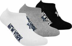 New York Yankees - 3-Pack Sneaker Socks - Zwart/Wit/Grijs - Algemeen - maat 43 - 46