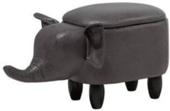 Beliani Hocker leather-look donkergrijs ELEPHANT
