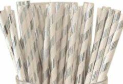 Merkloos / Sans marque Papieren rietjes zilver gestreept - 50 stuks - duurzaam, 100% composteerbaar