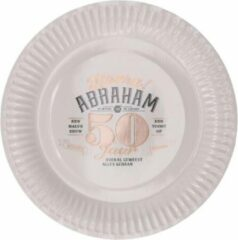Stemen Kartonnen Bordjes wit abraham 50 jaar 23cm 8 stuks - Wegwerp borden - Feest/verjaardag/BBQ borden - feestjes