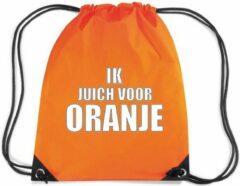 Bellatio Decorations Ik juich voor ORANJE rugzakje - nylon sporttas oranje met rijgkoord - EK/ WK voetbal / Koningsdag