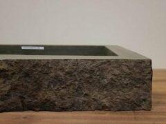 Grijze Puurteak Wasbak natuursteen FL19165 - 102x56x17cm
