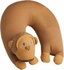 Bruine Cuddlebug U-shape kussen | Aap | Knuffel | Kinderen