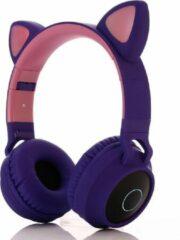 MeGoo Kinder hoofdtelefoon - koptelefoon Bluetooth met led kattenoortjes purper - roze
