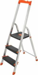 Oranje SONGMICS ladder met 3 treden, aluminium ladder, 12 cm brede treden met ribben, antislipvoetjes, met leuning en gereedschapsbakje, max. belasting 150 kg, getest door TÜV Rheinland, zilverkleurig GLT03BK