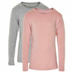 Minymo - Kid's Basic 35 T-Shirt L/S (2-Pack) - Longsleeve maat 110, beige/grijs