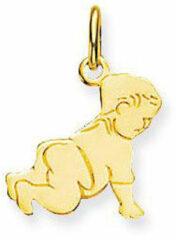 Goudkleurige Glow graveerplaatje - geelgoud - kruipende baby - 14.5 x 12.4 mm