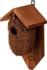 Bruine Decoris Houten vogelhuisje/nestbuidel kokos 26 cm - Vogelhuisjes tuindecoraties - Winterkoning nestje