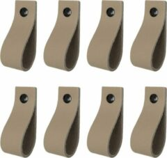 Handles and more Leren handgrepen / Lus - 8 stuks - TAUPE - maat M (19 x 2,5 cm) - incl. 3 kleuren schroefjes