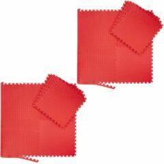 Rode Relaxdays 16x fitness mat set - vloermat - beschermmat - sportmat - puzzelmat – schuimstof