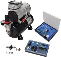 VidaXL Airbrush compressor incl. set met 2 spuitpistolen