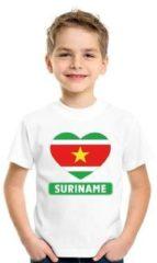 Shoppartners Suriname kinder t-shirt met Surinaamse vlag in hart wit jongens en meisjes M (134-140)
