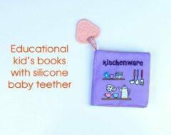 Lovely Baby Babyboekje met bijtring /Babyspeelgoed / Speelgoed voor 3 maanden-3 jaar oude Baby Jongens Meisjes Cadea/Babyboekjes Leren speelgoed /baby book/ Bath book / kitchenware