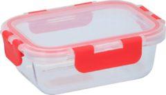 Alpina Vershouddoos - 390 Ml - Borosilicaatglas - Geschikt voor Vriezer, Magnetron, Oven en Vaatwasser - Transparant/ Rood