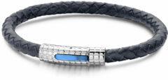 Blauwe Frank 1967 - 7FB-0007 - Leren armband - met stalen elementen - 21 cm - Blauw