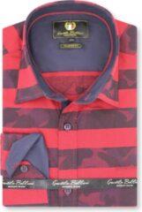 Gentile Bellini Heren Overhemd - Slim Fit - Stripe Camo - Rood - Maat XL