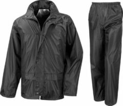 Result Regenpak winddicht zwart voor meisjes - Regenjas / regenbroek - Regenkleding voor kinderen L (134-146)