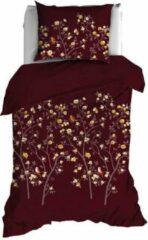 Bordeauxrode Satin d'Or Tearoses - Dekbedovertrek - Eenpersoons - 140x200/220 cm + 1 kussensloop 60x70 cm - Bordeaux