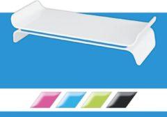 Leitz WOW Ergo Monitorstandaard - Verhoger voor Monitor Tot 27 Inch - Ruimte Voor Toetsenbord - Ergonomisch Ontwerp - Blauw - 1 Stuk