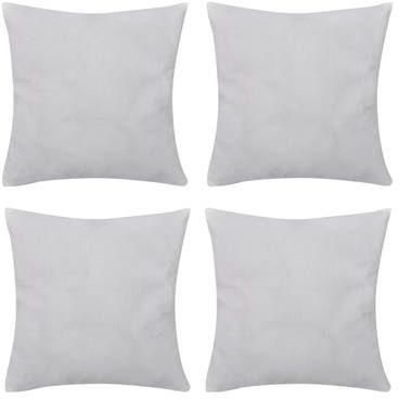 Afbeelding van Witte VidaXL Kussenhoezen katoen 50 x 50 cm wit 4 stuks