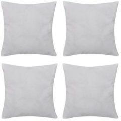 Witte VidaXL Kussenhoezen katoen 50 x 50 cm wit 4 stuks