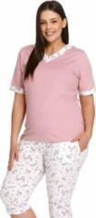Roze Doctor Nap Katoenen Pyjama Dames Volwassenen | Korte Mouw 3/4 Broek | Pyama Dames Volwassenen | Plus Size Papaya PB.9981 XL