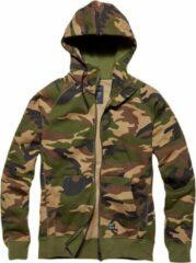 Vintage Industries Basing hooded zip sweater woodland camo